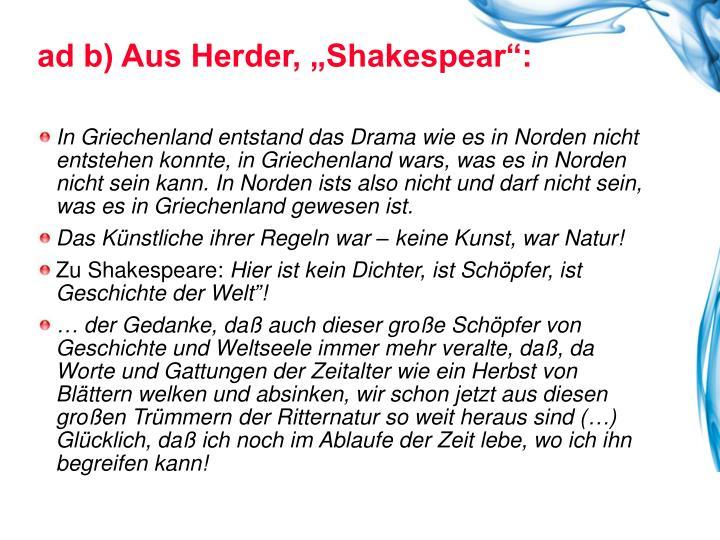 """ad b) Aus Herder, """"Shakespear"""":"""
