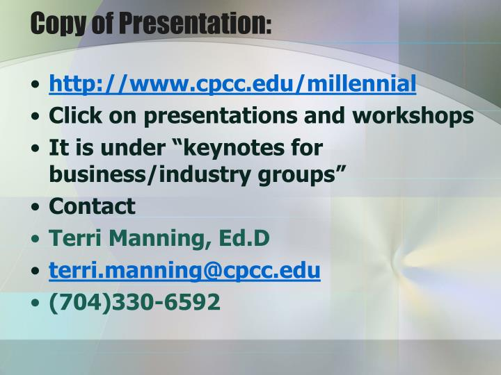 Copy of Presentation: