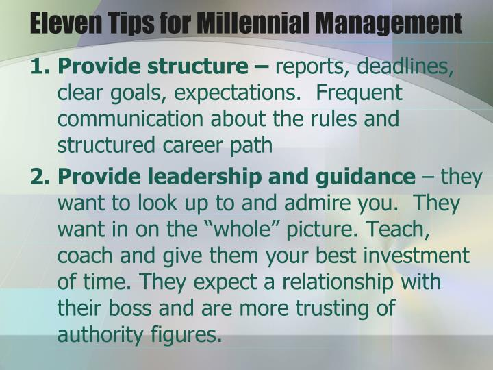 Eleven Tips for Millennial Management