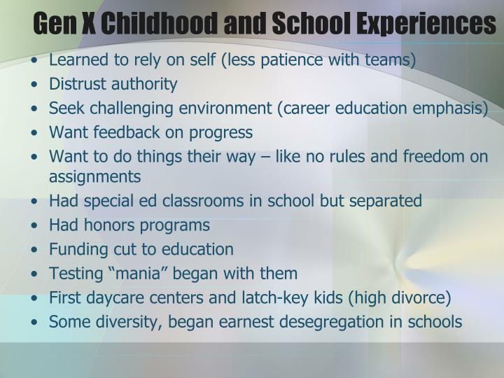 Gen X Childhood and School Experiences