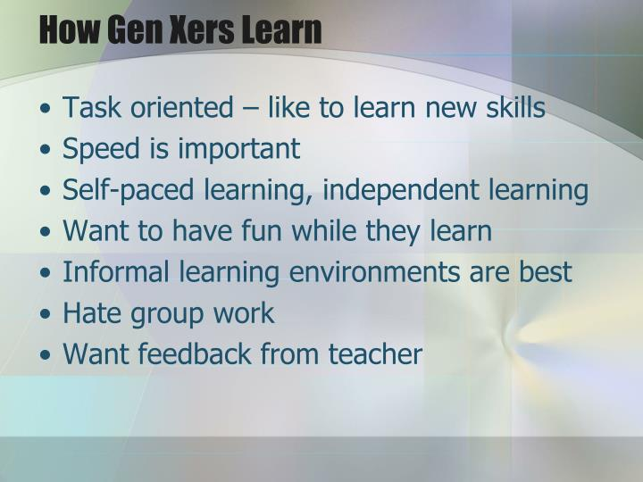 How Gen Xers Learn