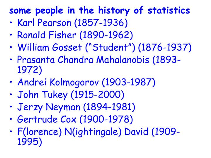 some people in the history of statistics