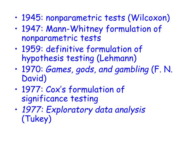 1945: nonparametric tests (Wilcoxon)