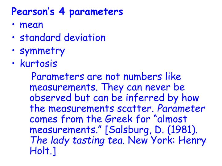 Pearson's 4 parameters