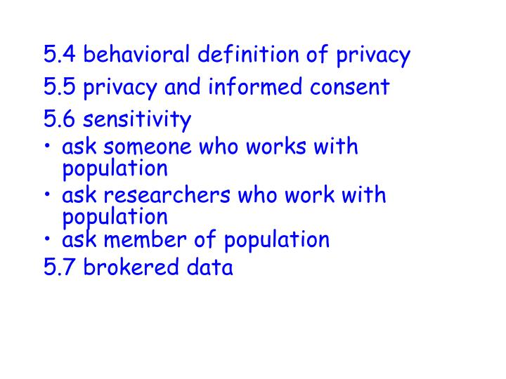 5.4 behavioral definition of privacy