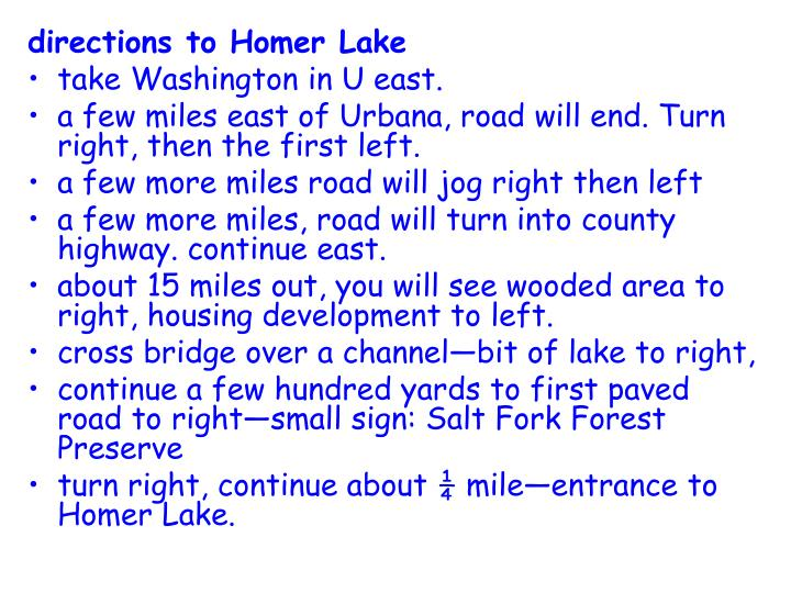 directions to Homer Lake