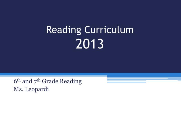 Reading curriculum 2013