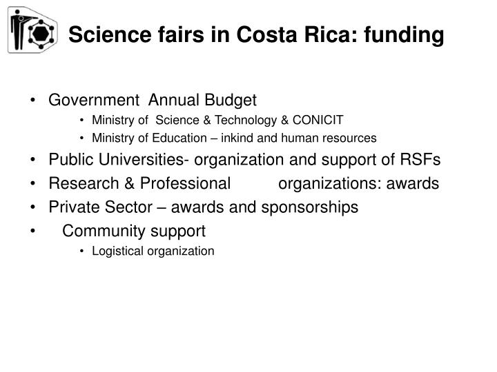 Science fairs in Costa Rica: funding