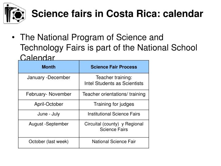 Science fairs in Costa Rica: calendar