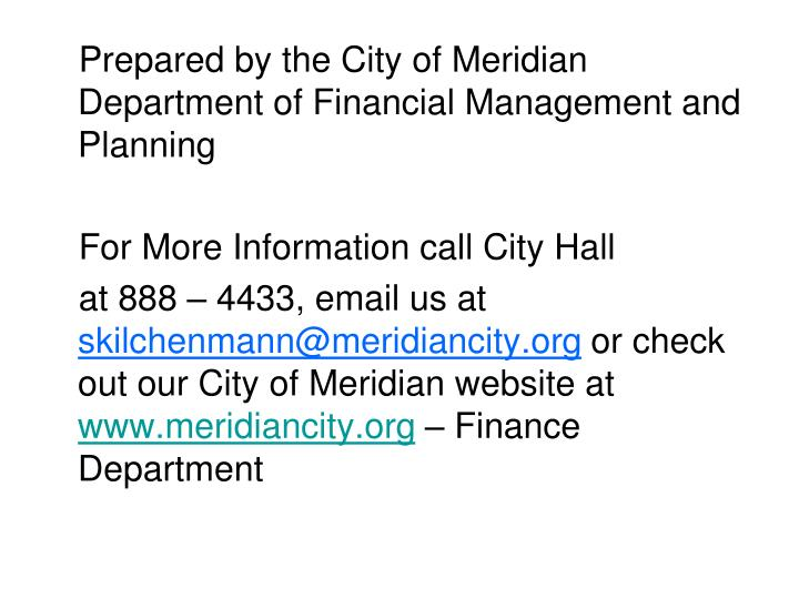 Prepared by the City of Meridian Department of Financial Management and Planning