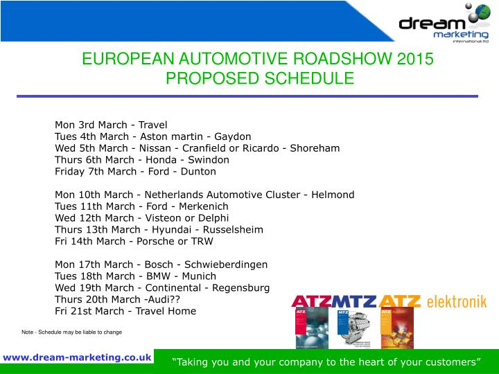 EUROPEAN AUTOMOTIVE ROADSHOW 2015