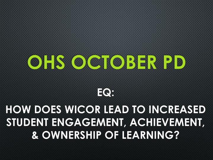 Ohs october pd