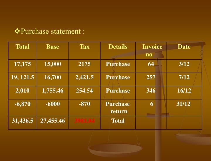 Purchase statement :