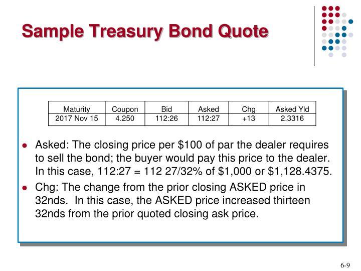 Sample Treasury Bond Quote
