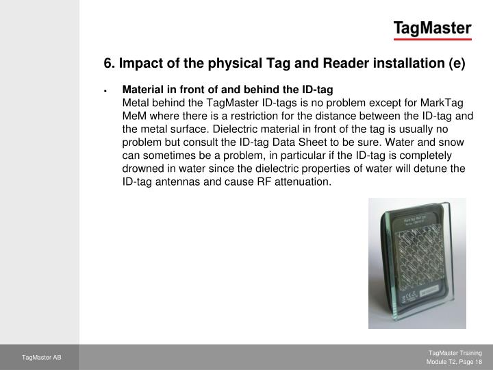 6. Impact of the physical Tag and Reader installation (e)