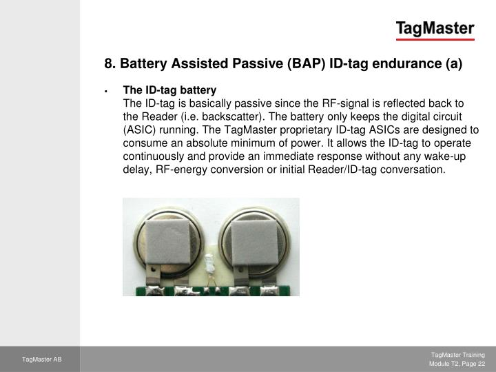 8. Battery Assisted Passive (BAP) ID-tag endurance (a)