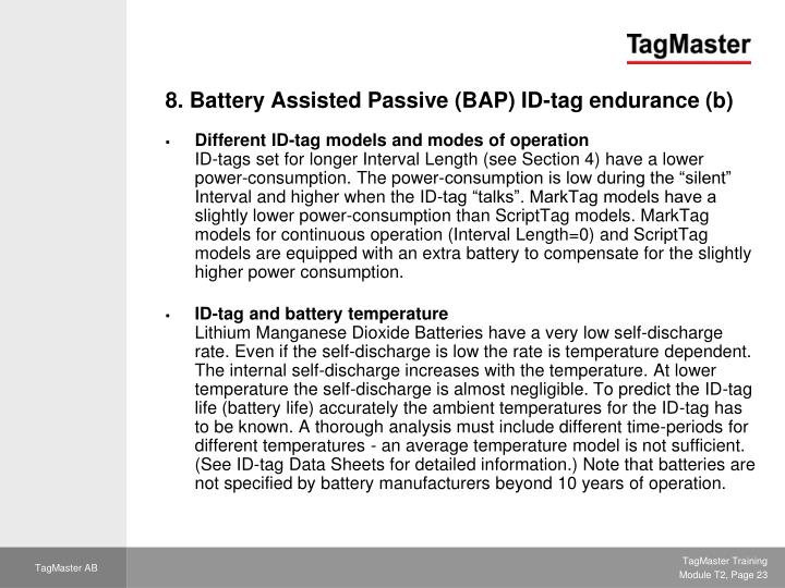 8. Battery Assisted Passive (BAP) ID-tag endurance (b)