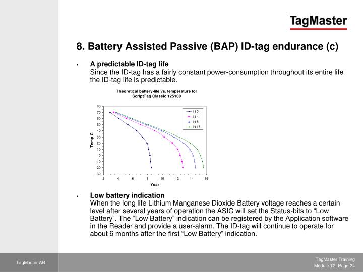 8. Battery Assisted Passive (BAP) ID-tag endurance (c)