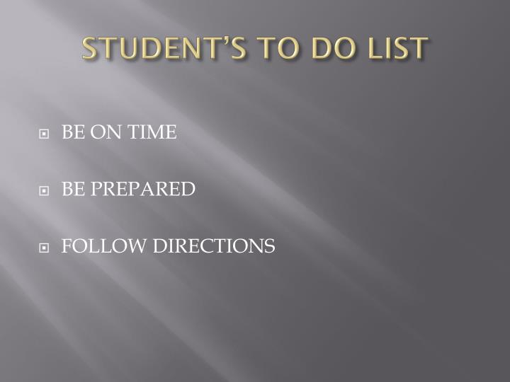 STUDENT'S TO DO LIST