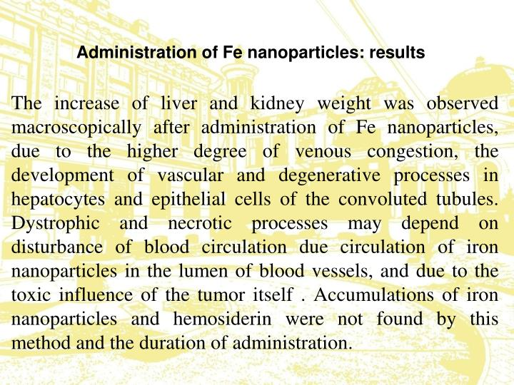Administration of Fe nanoparticles: results