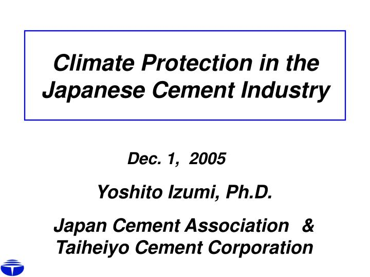Climate Protection in the Japanese Cement Industry