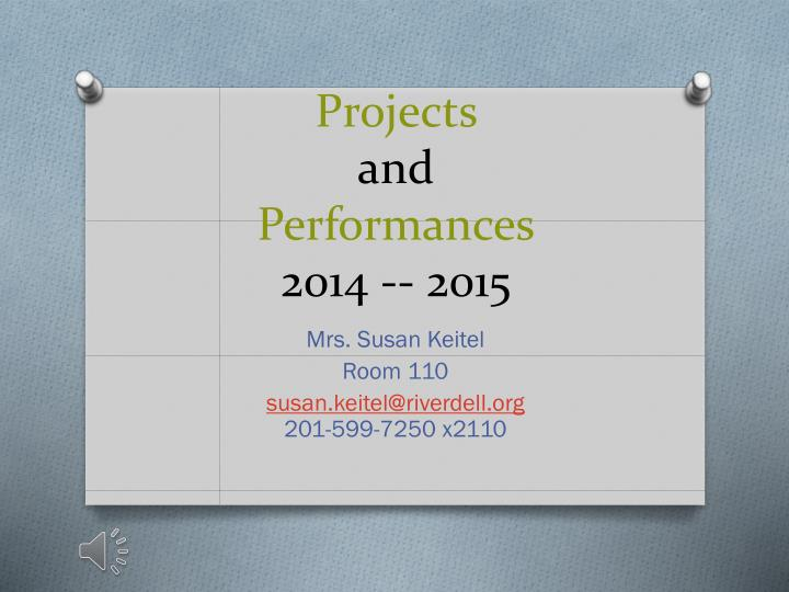 Projects and performances 2014 2015