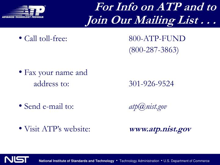 For Info on ATP and to