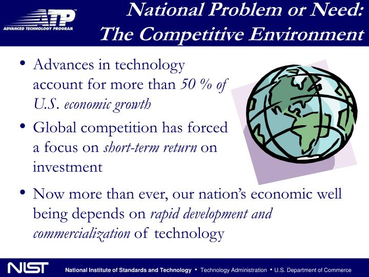 National Problem or Need:  The Competitive Environment