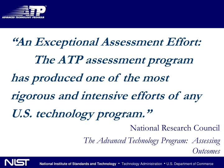 """An Exceptional Assessment Effort:"