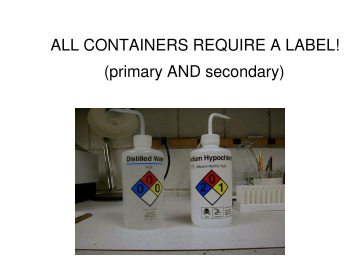 ALL CONTAINERS REQUIRE A LABEL!