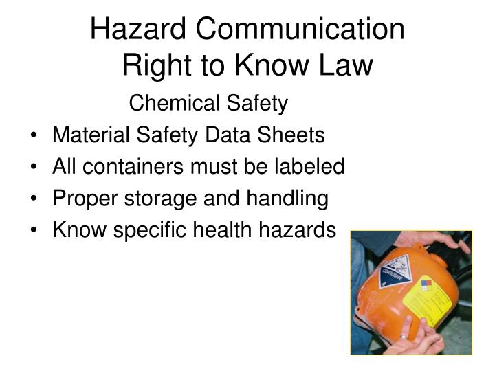 Hazard communication right to know law