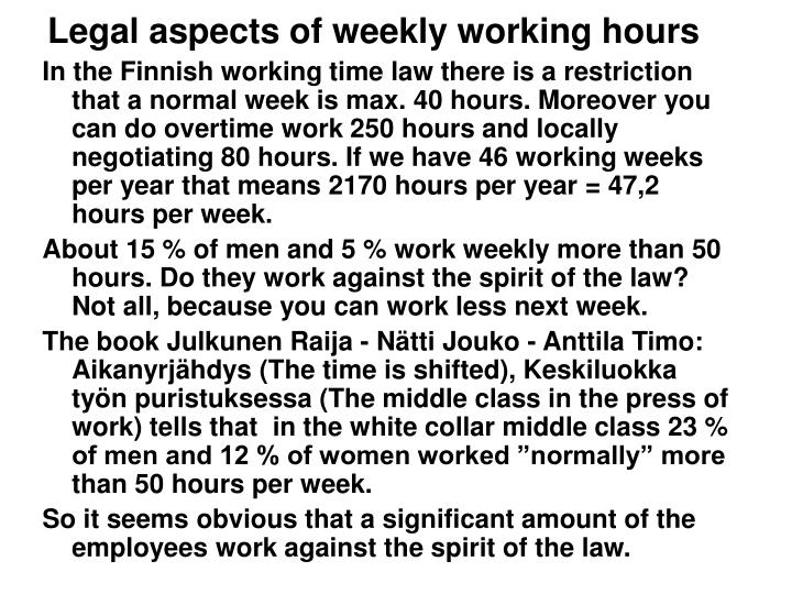 Legal aspects of weekly working hours