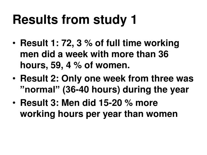 Results from study 1