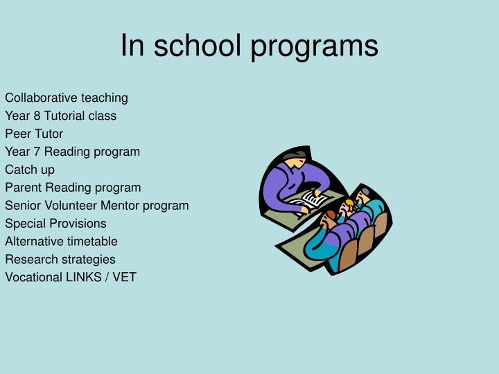 In school programs