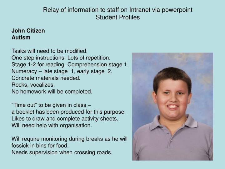 Relay of information to staff on Intranet via powerpoint
