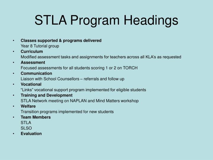 STLA Program Headings