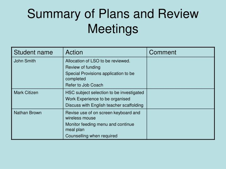 Summary of Plans and Review Meetings