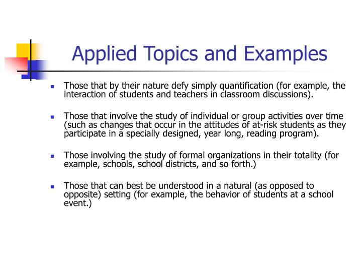 Applied Topics and Examples