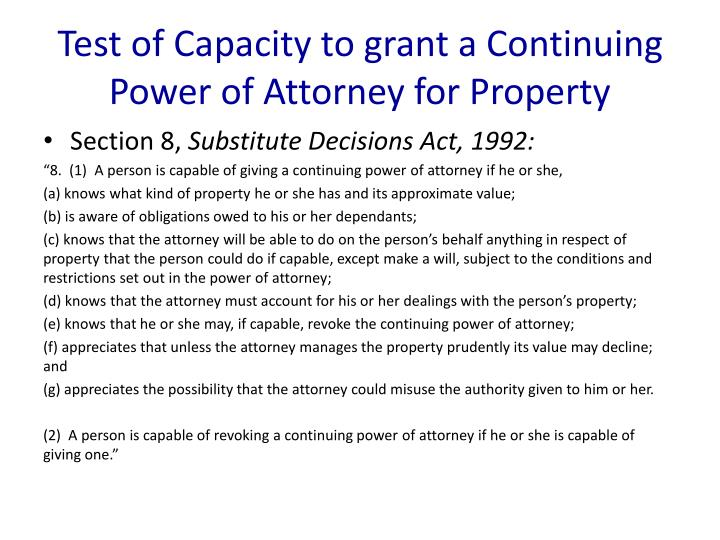 Test of Capacity to grant a Continuing Power of Attorney for Property