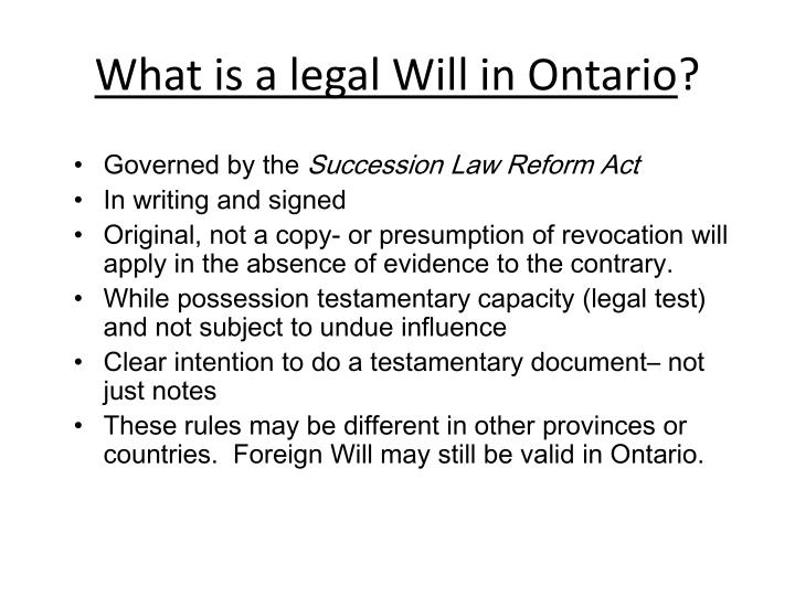 What is a legal Will in Ontario
