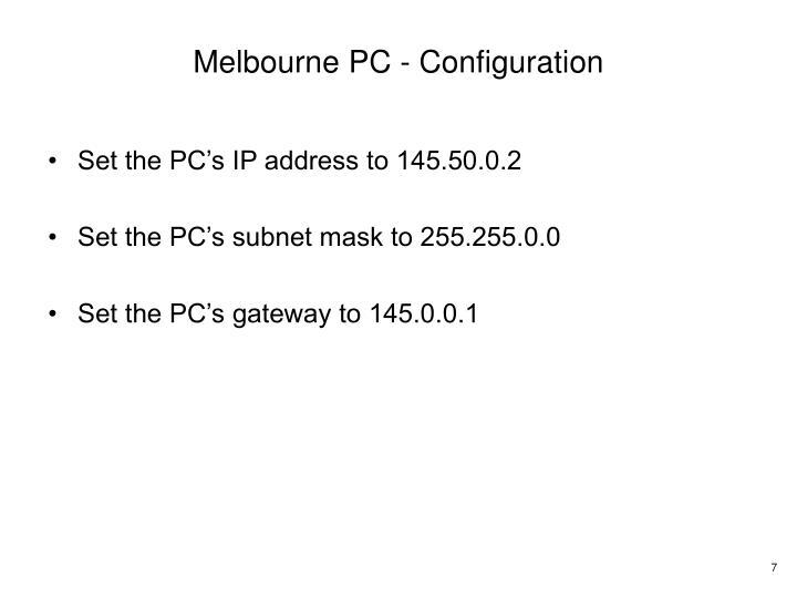 Melbourne PC - Configuration