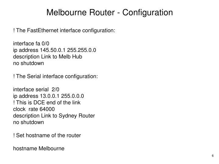 Melbourne Router - Configuration