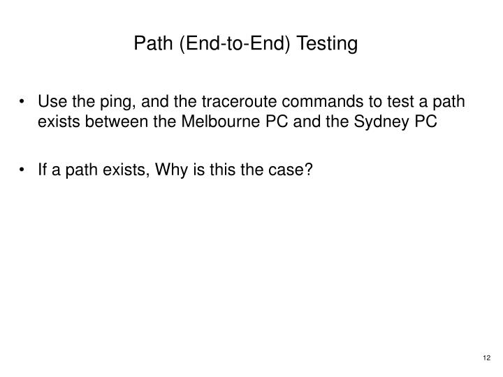 Path (End-to-End) Testing