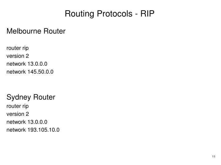 Routing Protocols - RIP
