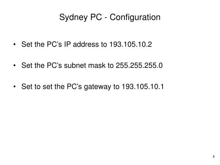 Sydney PC - Configuration