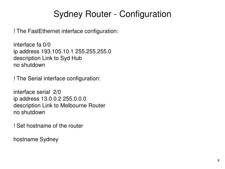 Sydney Router - Configuration