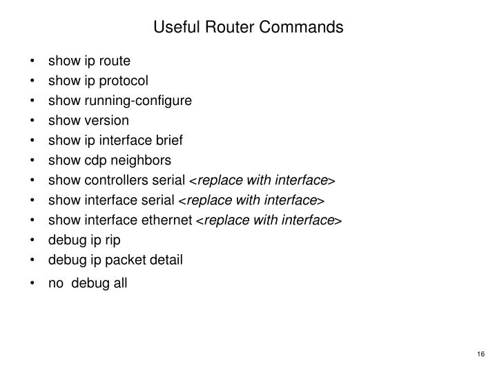 Useful Router Commands
