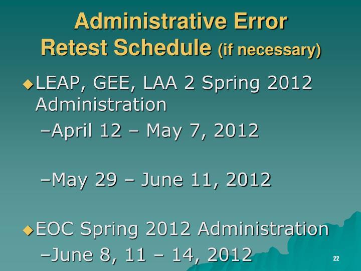 Administrative Error