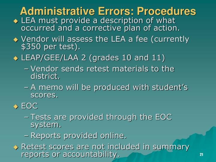 Administrative Errors: Procedures