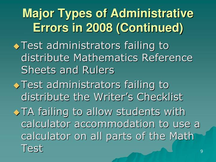 Major Types of Administrative Errors in 2008 (Continued)